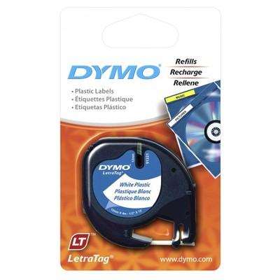 DYMO LetraTag Plastic Label Tape Cassette Black on White .5  x 13'