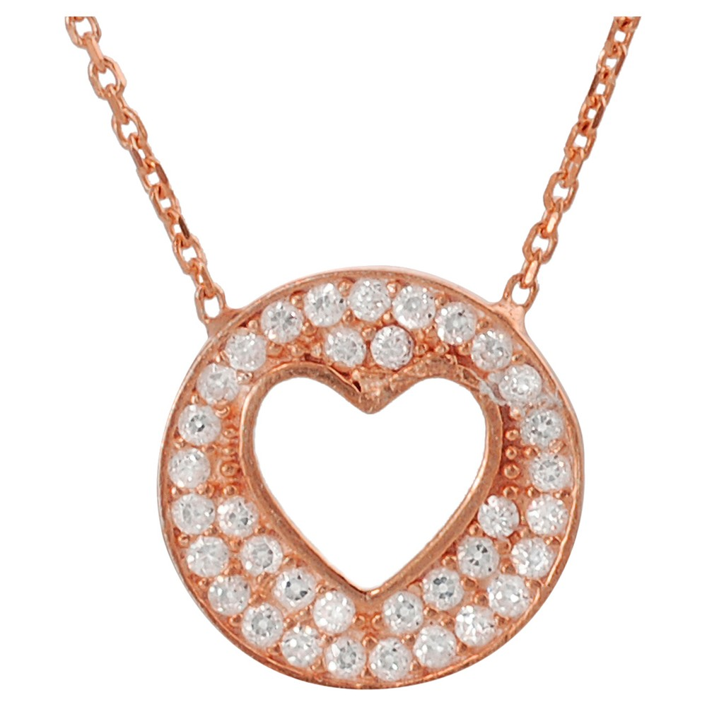 1/3 CT. T.W. Round-cut CZ Pave Set Cut-out Heart Pendant Necklace in Sterling Silver - Silver (17.5), Girl's, Rose Gold