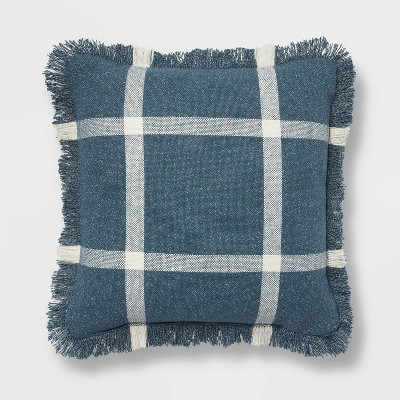 "18""x18"" Woven Plaid Square Throw Pillow with Fringe Navy/Cream - Threshold™"