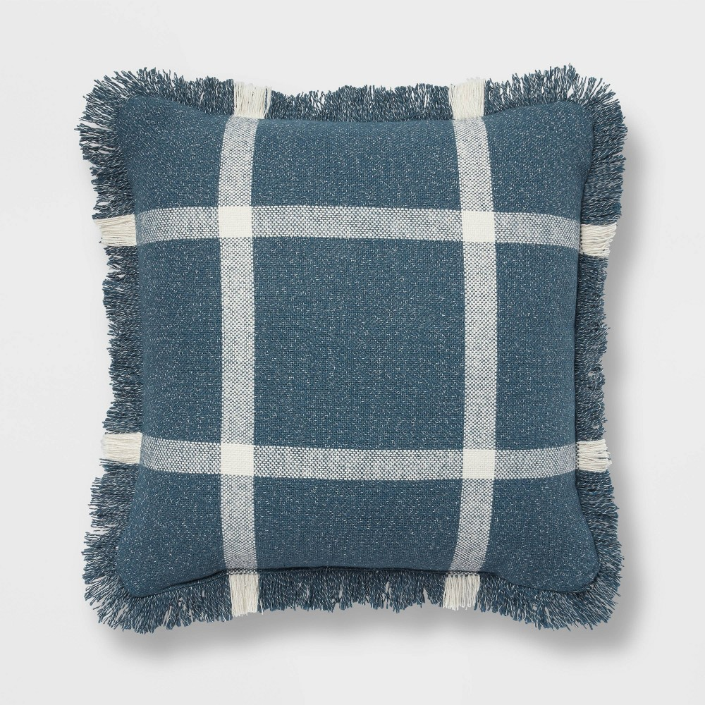 18 34 X18 34 Woven Plaid Square Throw Pillow With Fringe Navy Cream Threshold 8482
