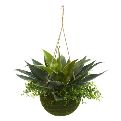 """15"""" x 13"""" Artificial Agave and Maiden Hair Plant in Hanging Basket - Nearly Natural"""