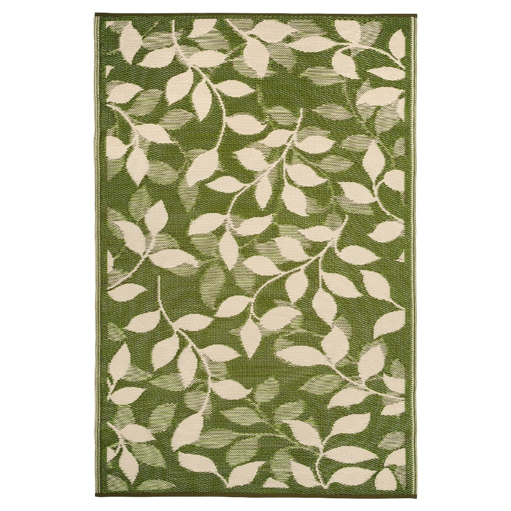 Image of Fab Habitat Outdoor Rug (3' x 5') - Bali Forest Green/Cream, Size: 3'X5', Beige Green