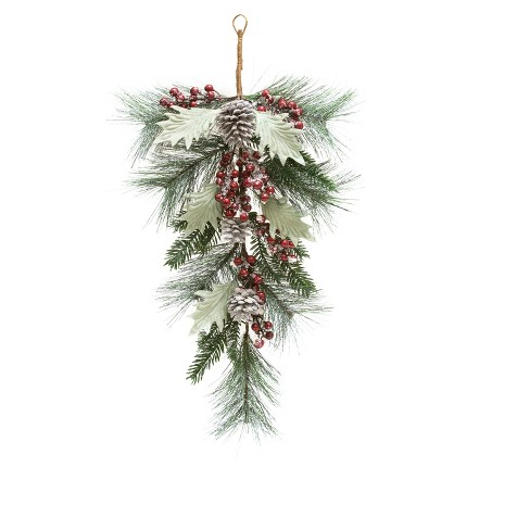 "26"" Christmas Pinecone and Berry Teardrop Artificial Swag - image 1 of 1"
