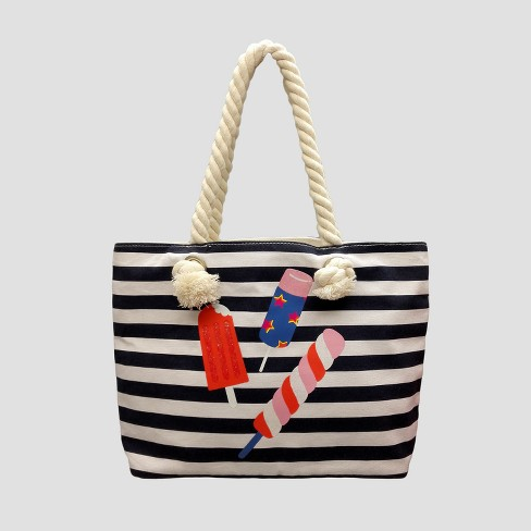 Toddler Girls' Striped Popsicle Tote - Cat & Jack™ Navy - image 1 of 3