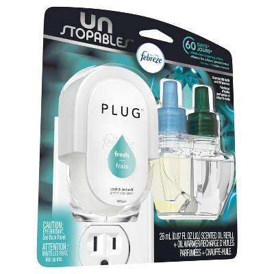 Febreze Unstopables Plug Odor Eliminating Air Freshener Oil Refill and Warmer - Fresh Scent - 1 Scented Refill