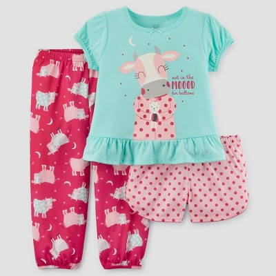 Baby Girls' 3pc Short Sleeve Cow Pajama Set - Just One You™ Made by Carter's® Turquoise 12M