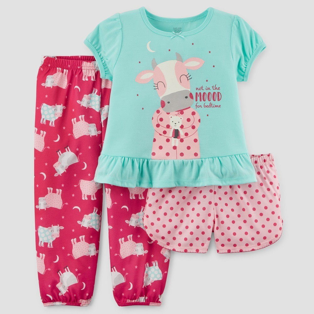 Toddler Girls' 3pc Short Sleeve Cow Pajama Set - Just One You Made by Carter's Turquoise 3T, Green