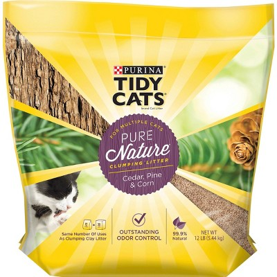 Purina Tidy Cats Pure Nature Cedar/Pine/Corn Multiple Cats Clumping Natural Cat Litter - 12lbs