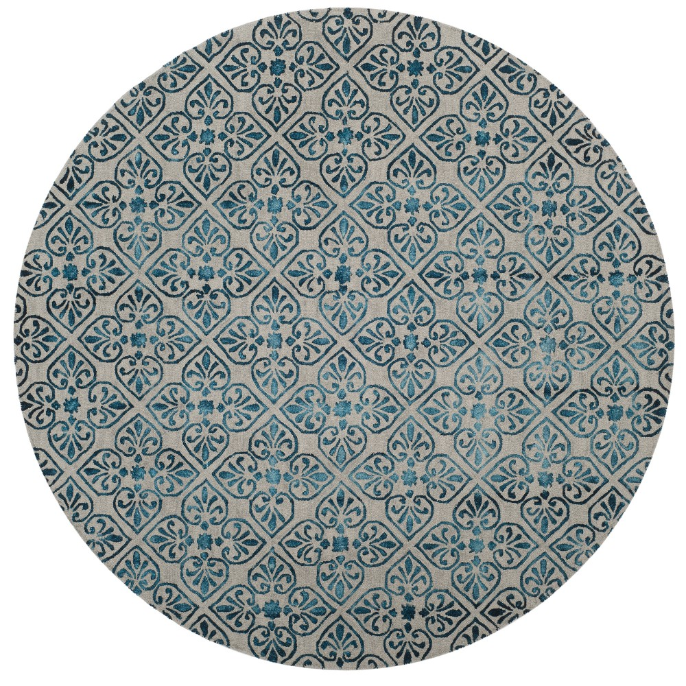 Gray/Charcoal Medallion Tufted Round Area Rug 7' - Safavieh, Grayncharcoal
