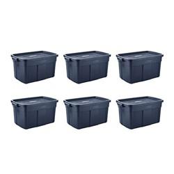 Rubbermaid Roughneck 31 Gallon Storage Tote, Dark Indigo Metallic (6 Pack)