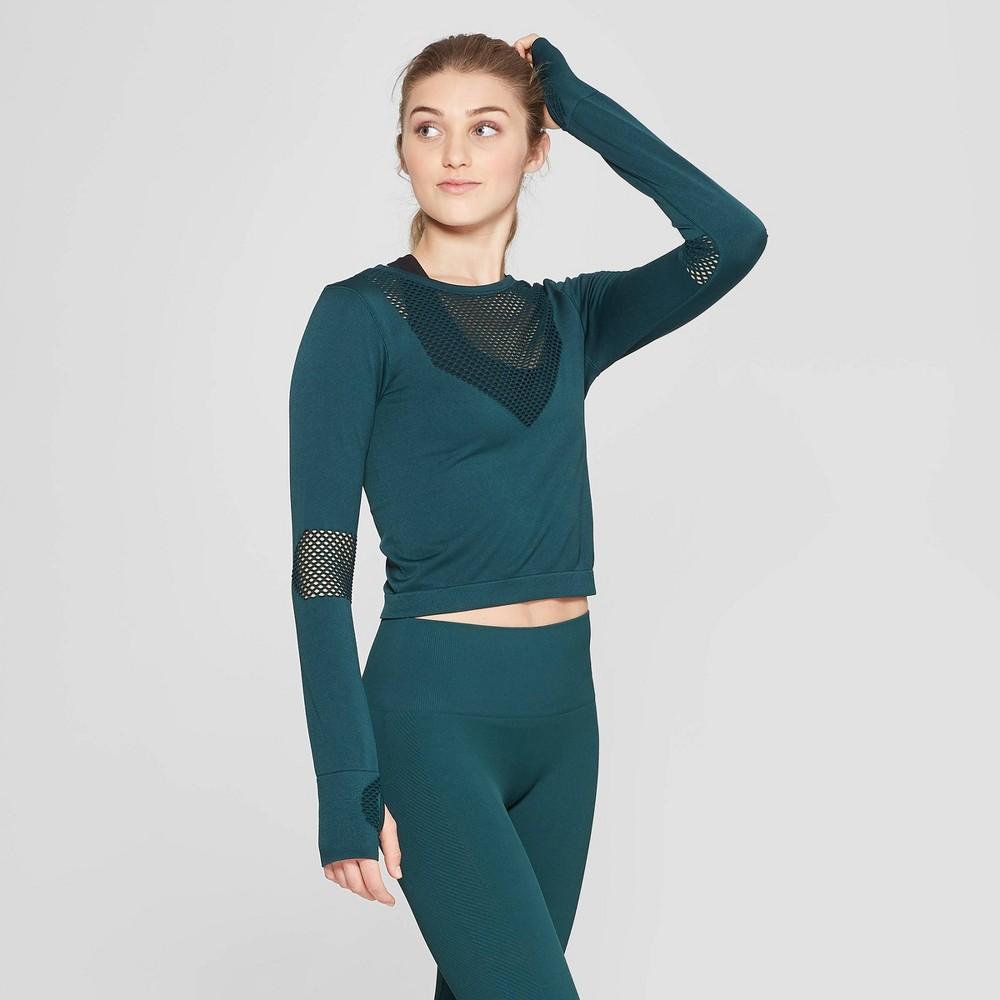 072159d6f25530 Womens Seamless Long Sleeve Crop Shirt JoyLab Pine Green XS