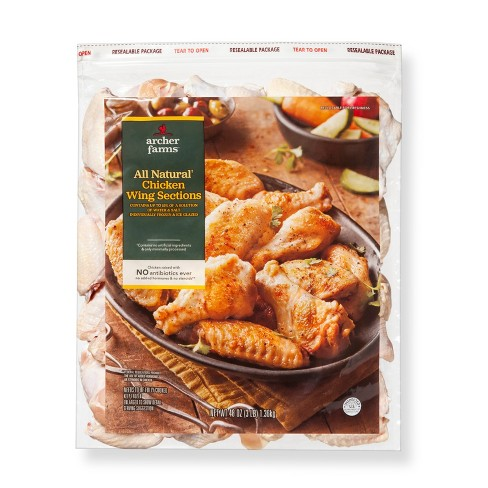 All Natural Frozen Chicken Wings - 3lbs