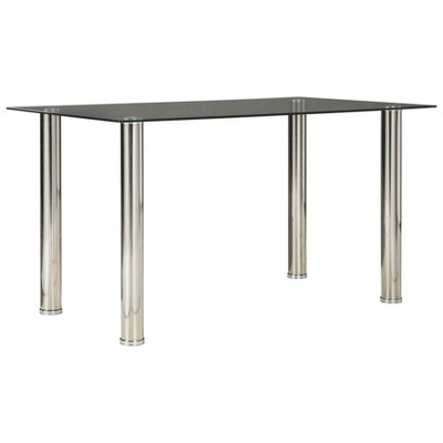 Sariden Rectangular Dining Room Table Clear/Chrome - Signature Design by Ashley