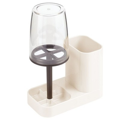 mDesign Toothpaste & Toothbrush Holder Stand with Rinsing Cup/Cover