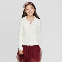 Girls' Long Sleeve Dressy Eyelash Cardigan - Cat & Jack™ Almond Cream