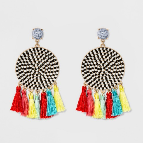 SUGARFIX by BaubleBar Mixed Media Drop Earrings with Tassel - image 1 of 3
