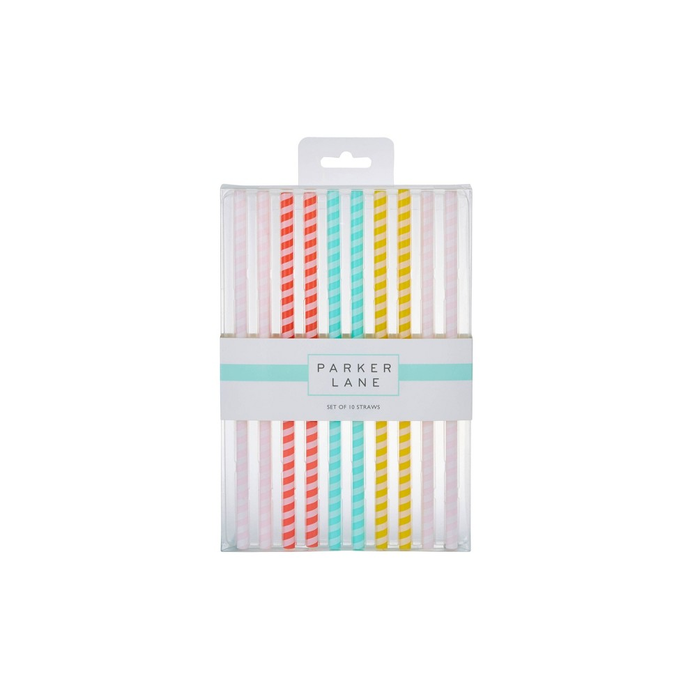 Image of Parker Lane 10pk Party Straws Striped