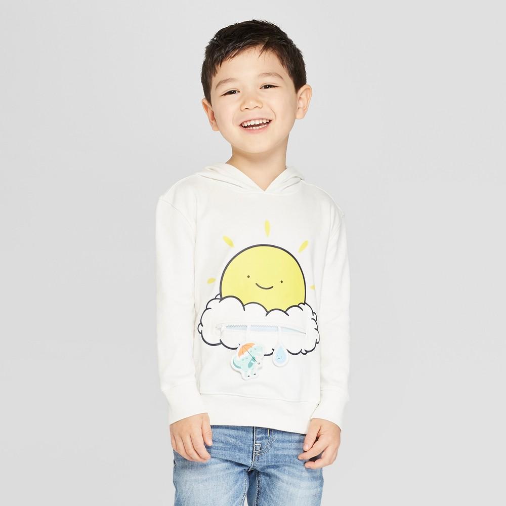 Toddler Boys' Long Sleeve T-Shirt With Zip Pocket - Cat & Jack Cream 5T, White