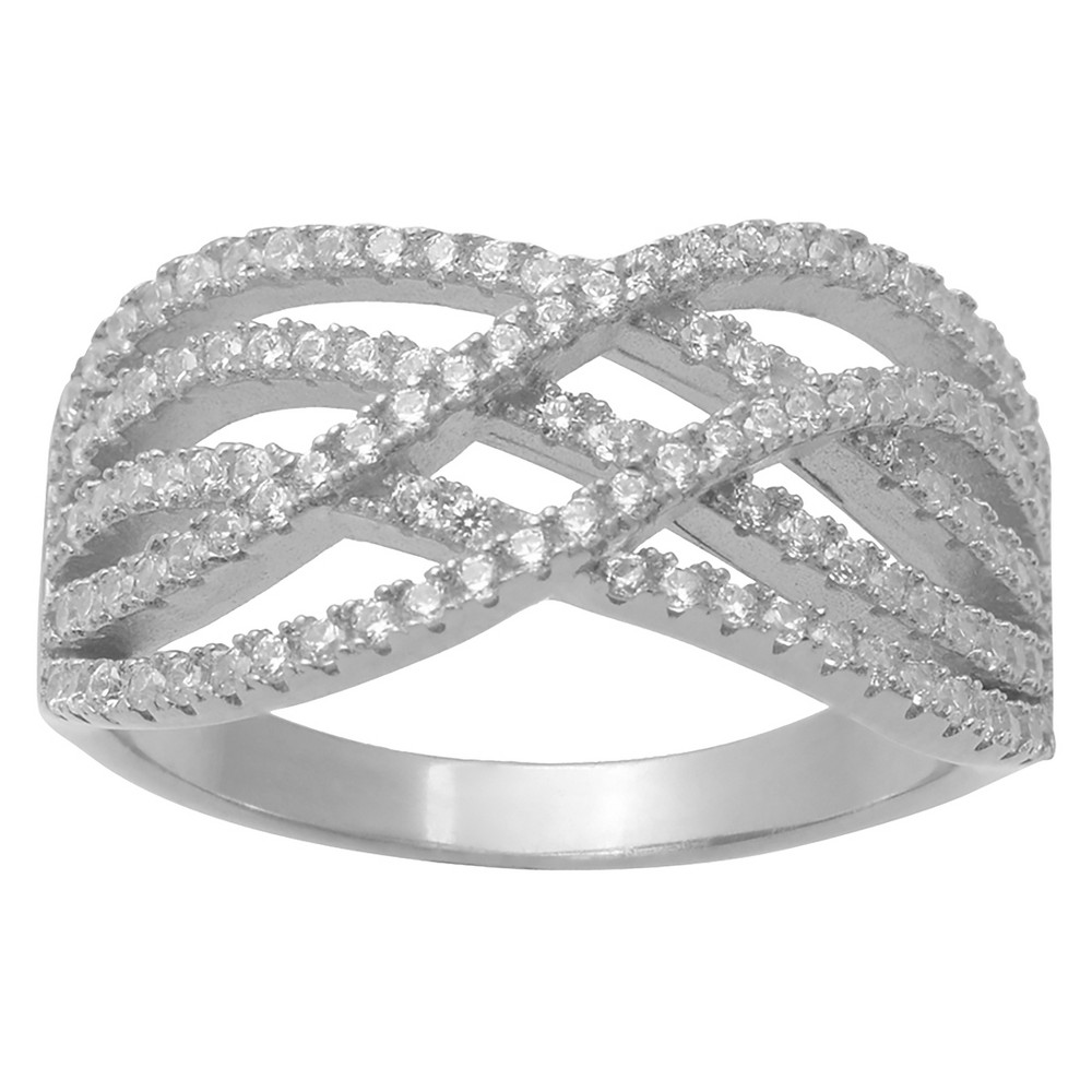 1 CT. T.W. Round-Cut CZ Pave Set Split Strands Ring in Sterling Silver - Silver, 7, Girl's
