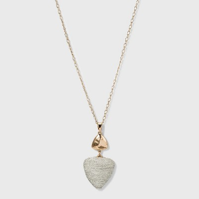 Trillion Shape Sprayed Cabochon and Thread Wrapped Pendant Necklace - A New Day™ Ivory