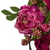 """Mixed Peony and Berry Silk Wreath Fuchsia 20"""" - Nearly Natural - image 2 of 3"""