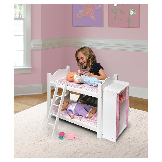 Badger Basket Doll Bunk Beds with Ladder and Storage Armoire image number null