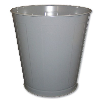 Impact Round Metal Wastebasket, Round, Steel, 28 qt, Gray 13023
