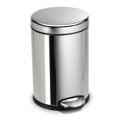 4.5L Stainless Steel Round Trash Can Silver - Simplehuman