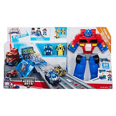 Playskool Heroes Transformers Rescue Bots Flip Racers Optimus Prime Race Track Trailer Target