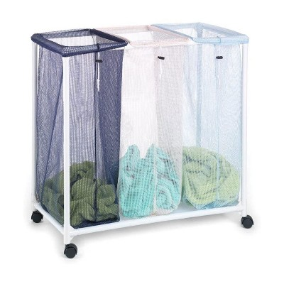 Homz 4549010 6 Load Capacity Triple Mesh Sorter Laundry Basket Portable Organizer Hamper with Removable Bags with Wheels, Blue and White