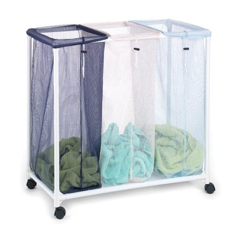 Homz 4549010 6 Load Capacity Triple Mesh Sorter Laundry Basket Portable Organizer Hamper with Removable Bags with Wheels, Blue and White - image 1 of 4