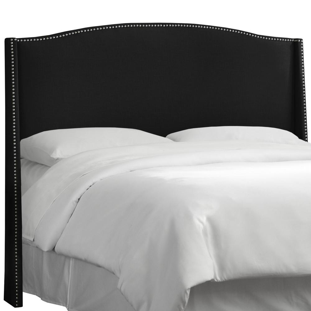 Queen Palermo Nailbutton Wingback Linen Headboard Black - Skyline Furniture