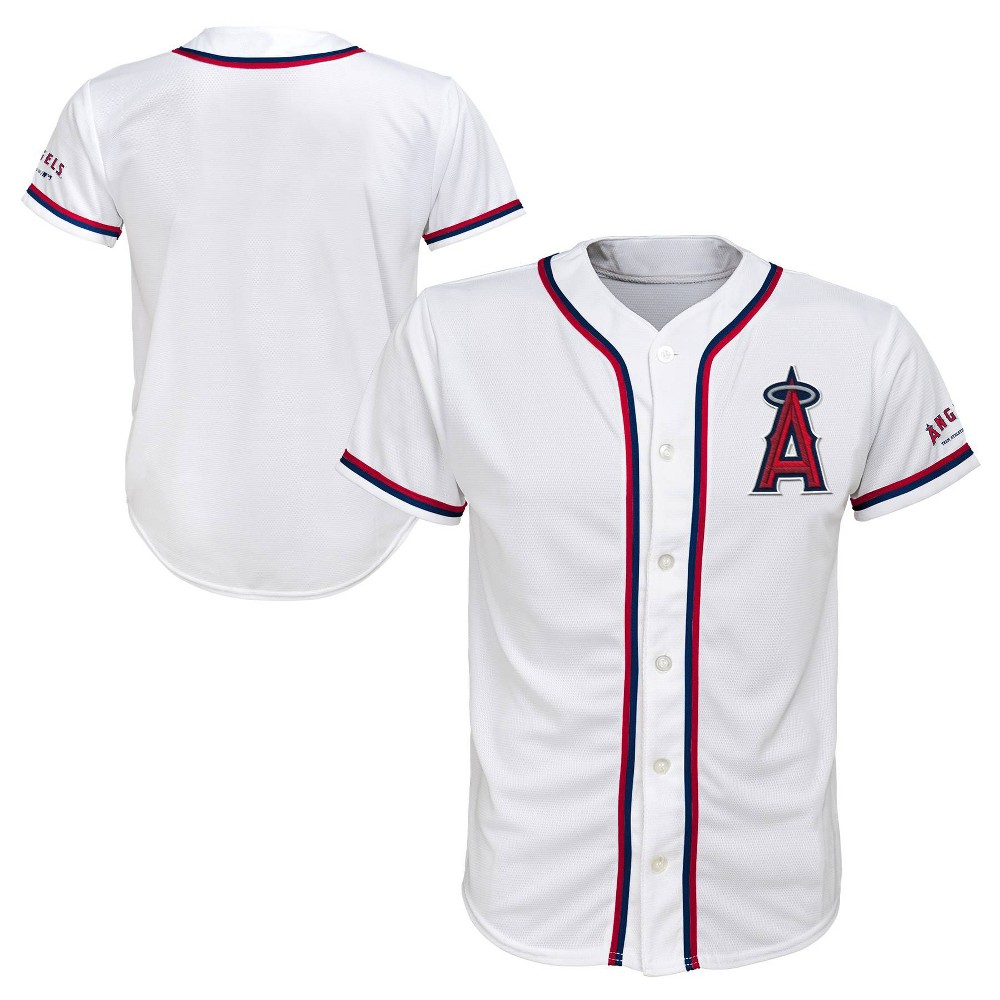 Los Angeles Angels Boys' White Team Jersey - L, Multicolored