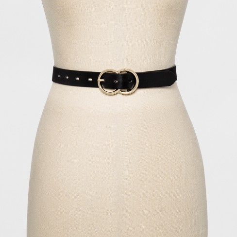 d4b6972e9b41 Women's Double Buckle Belt - A New Day™ Black : Target