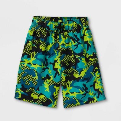 "Speedo Boys' Checked Camo Print 17"" Board Shorts - Turquoise"