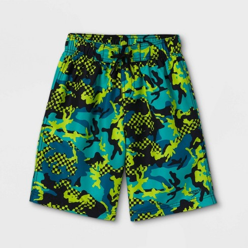 """Speedo Boys' Checked Camo Print 17"""" Board Shorts - Turquoise - image 1 of 2"""