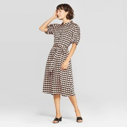 Women's Puff Short Sleeve Collared Front Button-Down Midi Wrap Dress - Who What Wear™