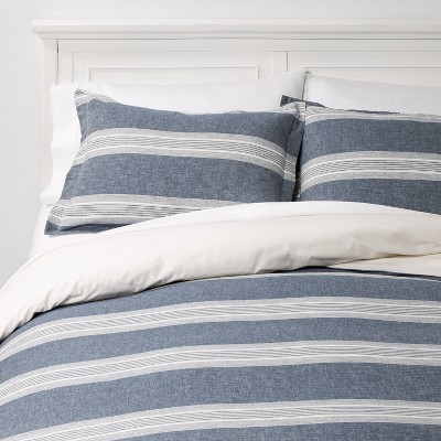 King Chambray Yarn Dye Stripe Duvet & Sham Set Blue - Threshold™