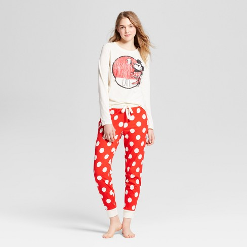 Women's Minnie Mouse Fashionably Late T-Shirt/Jogger Pajama Set - Cream - image 1 of 2