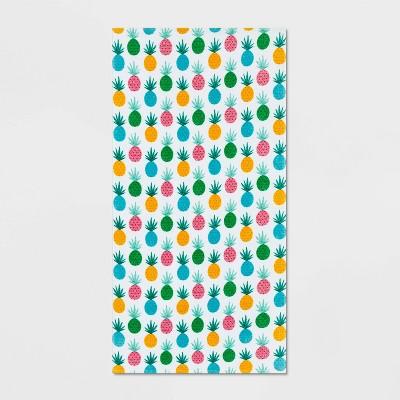Pineapple Beach Towel White/Blue - Sun Squad™