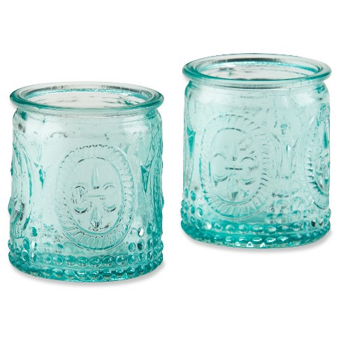 ec28ff0312 12ct Vintage Blue Glass Tealight Holder : Target
