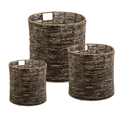 Honey-Can-Do Set of 3 Round Storage Bins Brown