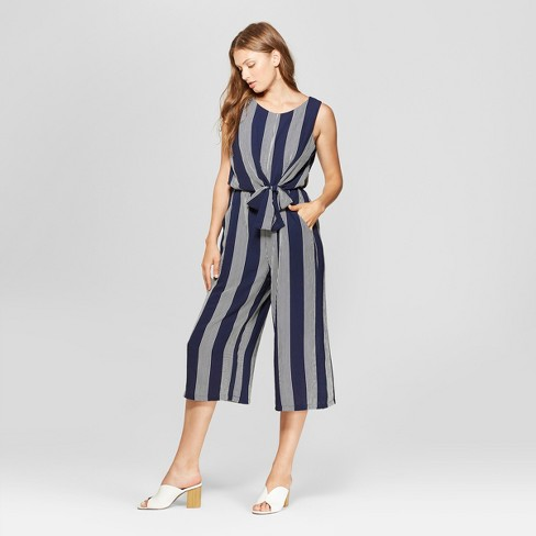 Women's Striped Print Sleeveless Tie Front Jumpsuit - Lux II - Navy/White - image 1 of 2