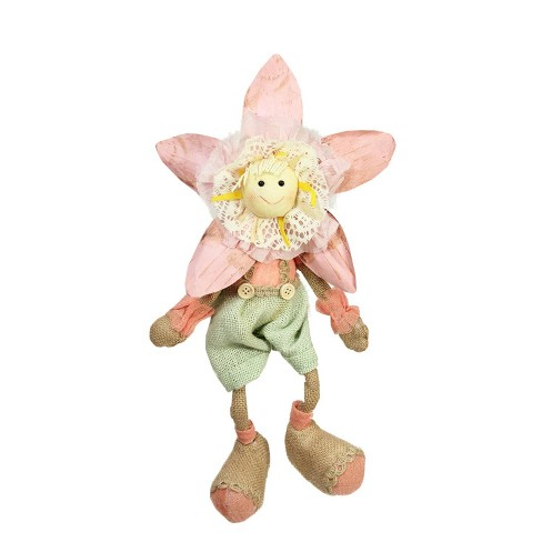 """Northlight 15.5"""" Pink and Green Spring Floral Sitting Sunflower Girl Decorative Figure - image 1 of 1"""