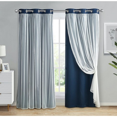 Kate Aurora 2 Pack Double Layered Hotel Chic Sheer Blackout Curtains - image 1 of 1