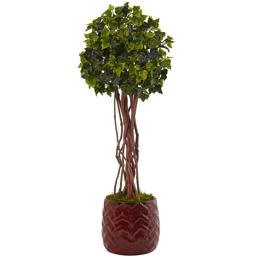 Image of 2.5ft English Ivy Artificial Tree In Red Planter - Nearly Natural, Green