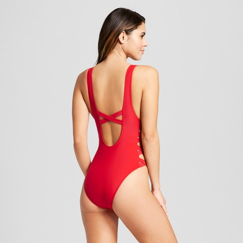 da900b7a95ffb Women's Strappy Side One Piece Swimsuit - Xhilaration™ Red : Target