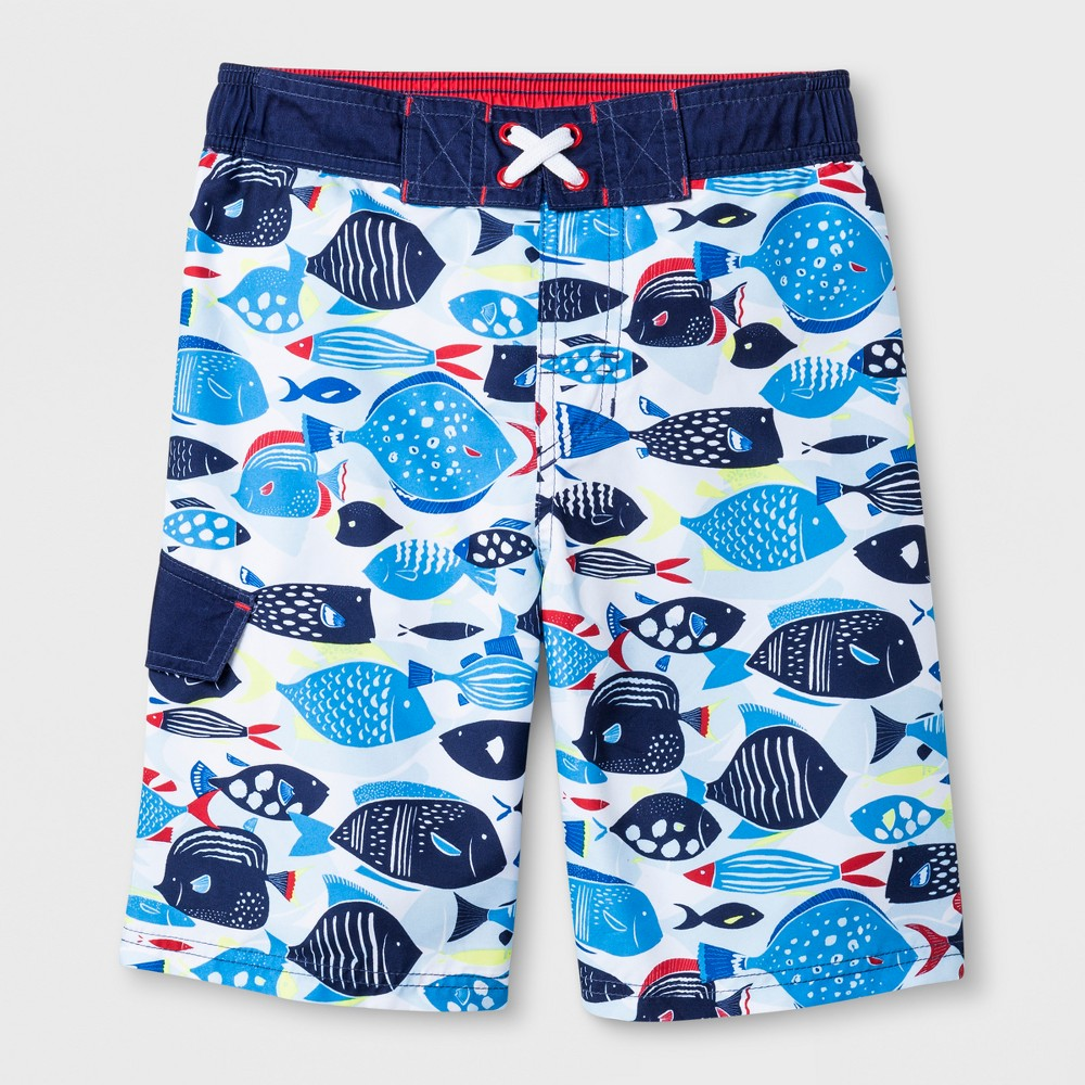 Boys' Fish Print Swim Trunks - Cat & Jack Blue M
