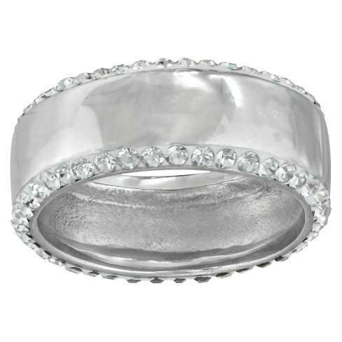 Silver Plated Band Edged in C rystals - Size 7 - image 1 of 1