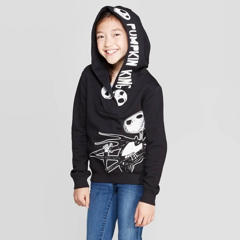 Girls' Jack Skellington Halloween Pullover Long Sleeve Hoodie - Black - image 1 of 3